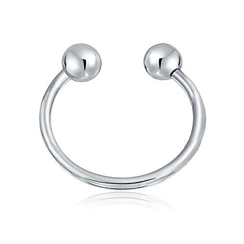 Home Plain Keychain Ball Screw Horseshoe Key Ring 925 Sterling Silver