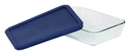 Pyrex Simply Store 6017471 Lot de 2 plateaux de rangement rectangulaires en verre pour aliments Bleu