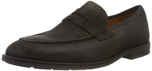 Clarks Ronnie Step, Mocasín para Hombre, Braun Dark Brown Nub Dark Brown Nub, 41 EU
