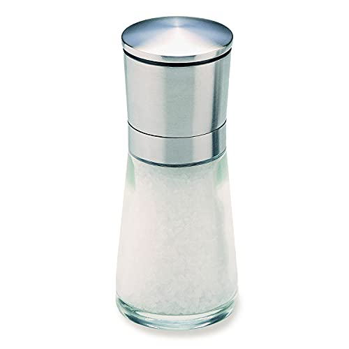 Olde Thompson Bavaria - 5.5' Glass Salt Mill - Pre-filled with Sea Salt Crystals, Fully Adjustable Grinding Mechanism, Stainless Steel Removable Top, Great for Cooking, Grilling, Meat, Poultry, Fish