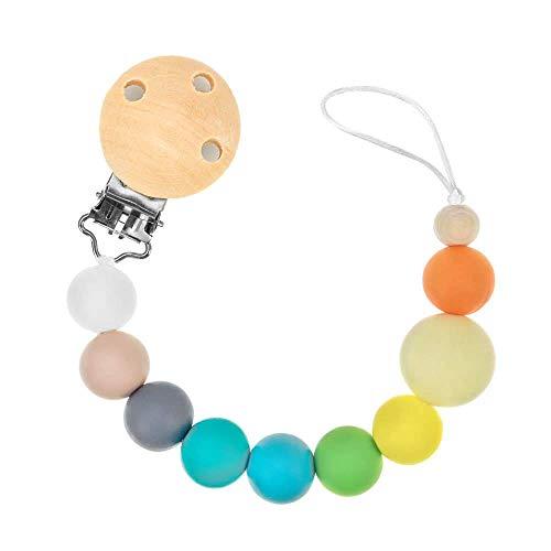RUBY - Chupeteros de Colores Diferentes. Cadena Chupete Bebé con Pinza de Madera (Multicolor)