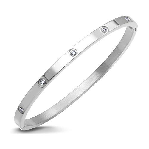 555Jewelry Womens Classic High Polish Stainless Steel Sparkling Cubic Zirconia CZ Hypoallergenic Fine Fashion Girls Jewelry Accessory Hinge Lock Love Cuff Bangle Bracelet, Silver
