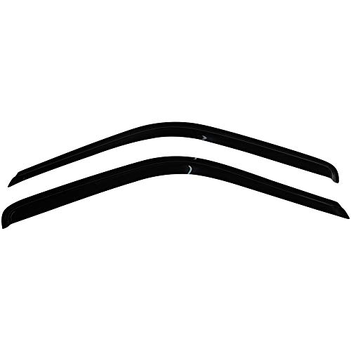 IKON MOTORSPORTS Tape On External Window Visor, Compatible With 1988-1998 Chevy C & K Reg Cab Pickup, Slim Style ABS Smoke Tinted & Semi-Transparent Sun Rain Wind Guards Shield Vent