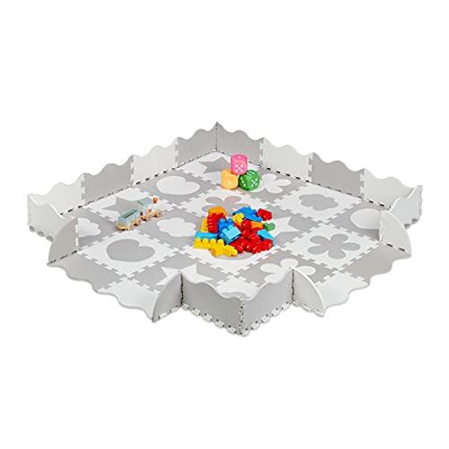 Relaxdays Puzzlematte 52-teilig, EVA Schaumstoff, schadstofffrei, 1,4 m², Spielmatte mit Rand, versch. Motive, grau/weiß