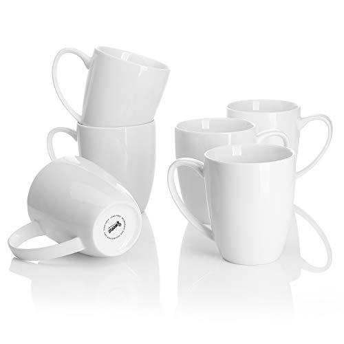 Sweese 611.001 Kaffeebecher Kaffeetassen 6er Set aus Porzellan, 350 ml Becher mit henkel für Heißgetränke