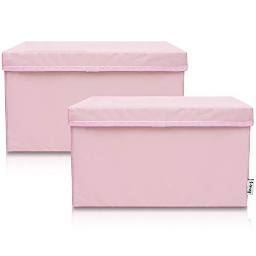 Lifeney 2-Set Aufbewahrungsbox Kinder (37x25x21cm) I Aufbewahrungskorb für Kinderzimmer und Wohnbereich I Kinder Aufbewahrungskiste (Rosa)