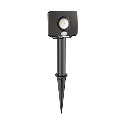 ledscom.de LED Gartenstrahler Wega mit Erdspieß und 15cm Sockel für außen mit Bewegungsmelder, schwarz, 10W, 650lm, warm-weiß