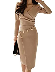 Lrady Women's Deep V Neck Casual Work Bodycon Cocktail Party Pencil Midi Dress, Khaki, Large by
