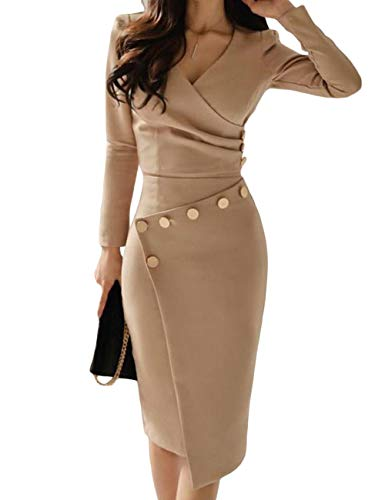 Lrady Women's Deep V Neck Casual Work Bodycon Cocktail Party Pencil Midi Dress, Khaki, Small