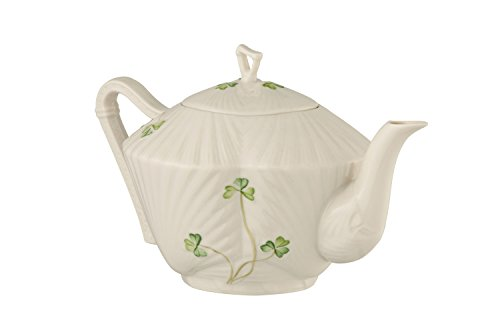 Belleek Pottery Harp Shamrock Teapot, Green/White