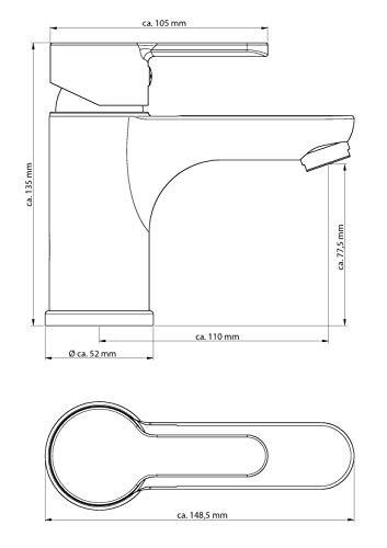 EISL disegno nuevo–Grifo mezclador monomando, 1pieza, color blanco de Chrome, ni075dinwcr