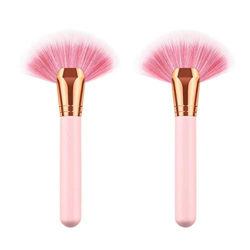 Minkissy 2 Pcs Pinceaux de Maquillage Forme de Ventilateur Poignée en Bois Synthétique Nylon Fondation Brosse Brosse Faciale Cosmétiques Brosse pour Femmes
