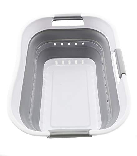 SAMMART Collapsible Super Mini 3 Handled Plastic Laundry Basket - Foldable Pop Up Storage Container/Organizer - Space Saving Hamper/Basket (1, White/Grey)