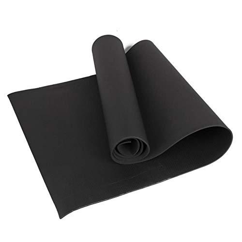 mengzhong Yogamatte aus Schaumstoff, 4 mm dick, feuchtigkeitsbeständig, rutschfest, reißfest, faltbar, für Übungen, Yoga und Pilates, Schwarz