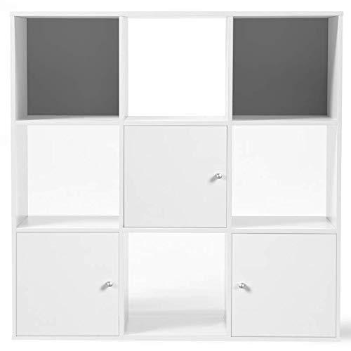 IDMarket - Meuble de Rangement Cube Rudy 9 Cases Bois Blanc avec 3 Portes Fond Gris