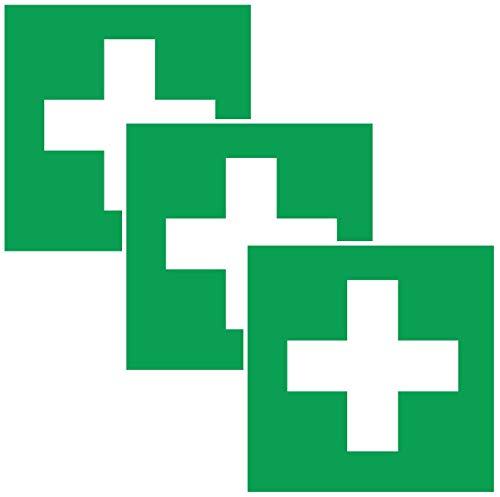 Print&Bind Center 3X Aufkleber ERSTE Hilfe Schild Hinweis Warnaufkleber Medizin Verbandskasten