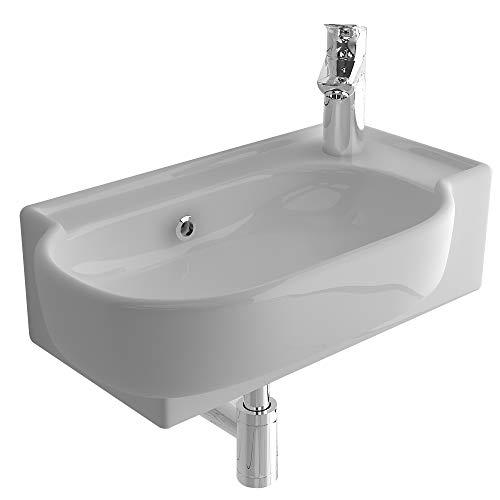 bad1a Handwaschbecken Mini Waschtisch Weiß Keramik-Waschbecken 45 cm mit Überlauf |WC-Waschbecken klein Gästebad Hängewaschbecken| Wandmontage, Badezimmer| Oval Italienisches Design