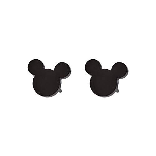 Selia Micky Maus Ohrring mini Ohrstecker minimalistisch gebürstete Optik handgemacht (schwarz)