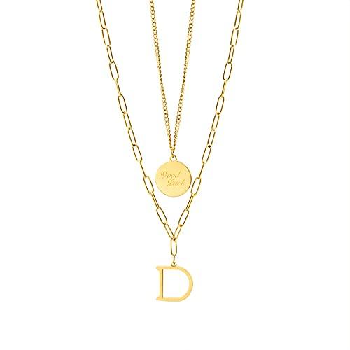 GYAM Collar Chapado En Oro Real De 18 Quilates, Doble Capa, Buena Letra De La Suerte, Cadena De Clavícula, Color Dorado para Mujer