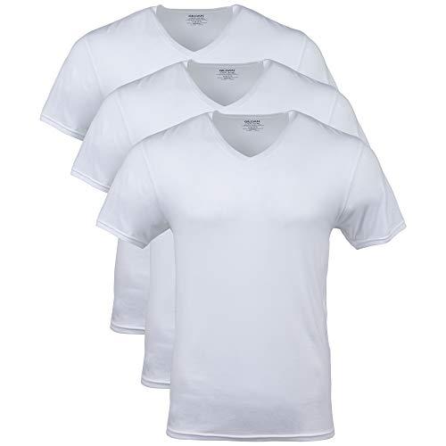 GILDAN Men's Modal V-Neck T-Shirts, 3 Pack Underwear, Artic White, XXL