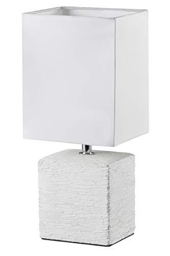 Reality Leuchten Tischleuchte mit Keramikfuß, 1x E14 maximal 40 W, 29 cm, Stoffschirm weiß R50131001
