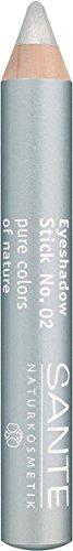 SANTE Naturkosmetik Eyeshadow Stick No. 02 silver, Lidschattenstift, Farbintensive cremige Textur, Als Eyeshadow Base einsetzbar, 3,2g