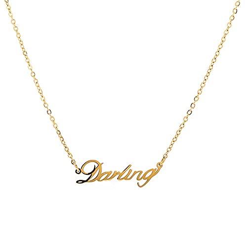 Collar Relación perfecta con las mismas letras en inglés, querido collar, temperamento de personalidad femenina, cadena de clavícula de acero de titanio dorado de moda