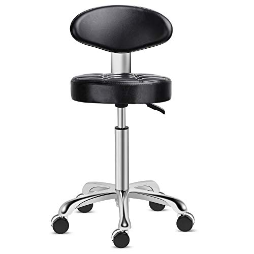 Kaleurrier Rolling Stool Salon Chair with Smooth-Rolling Wheels 360-degree Swivel Seat Heavy Duty Hydraulic Height Adjustable High Barber Cutting Stools (Black, with Backrest)
