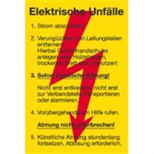 Schild Sicherheitsaushang Elektrische Unfälle 30x20 PVC