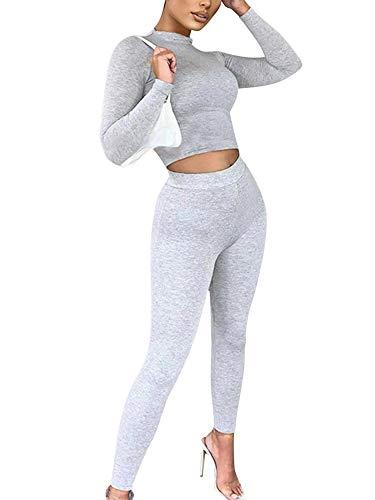 Mujer Chándal 2 Piezas Conjunto de Ropa Deportiva Traje de Deporte Color Sólido Top Camiseta Ajustada de Manga Larga + Pantalones Largos de Cintura Alta (Gris 2, S)
