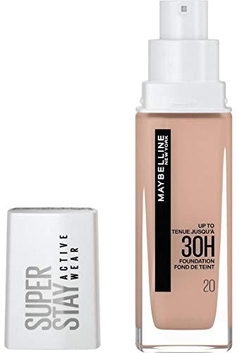 Maybelline New York Wasserfestes Make up, Foundation mit hoher Deckkraft, Langanhaltendes Gesichts-Make-up, Super Stay Active Wear, Farbe: Nr. 20 Cameo (Hell), 1 x 30 ml