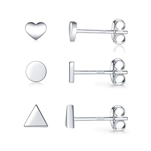 Silver Stud Earrings for Women, 3 Pairs White Gold Plated Studs Heart Circle Triangle Cartilage Earrings Set Hypoallergenic Sleeper Earrings for Girls Men, 4mm