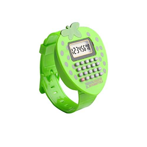 BENO Mini Calculadora De Fresa Reloj De Pulsera Multifunción para El Aula De Hogar O Calculadora De Examen De Estudiante calculadora portatil (Color : Green)