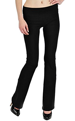 T Party Fold-Over Waist Yoga Pants, X-Large,Black