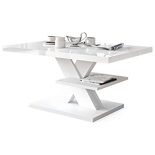 Viosimc Mesa de centro blanca, moderna mesa de salón con un estante. Mesa de centro blanca con superficie de alto brillo, mesa central moderna blanca y mesa auxiliar para salón (blanco)