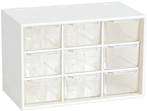 qiuqiu Cajón de joyería de Escritorio, Mini Organizador de cajón de plástico de 3 Capas con 9 cajones, Organizador de Escritorio Transparente, Caja de Almacenamiento de Mesa