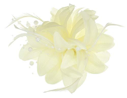 5230 avorio con fiori in tessuto fascinator con perline appeso & spilla a. Matrimonio gare