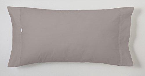 ESTELA - Funda de Almohada Combi Liso Color Plomo - 1 Pieza de 45x110 cm - 50% Algodón-50% Poliéster - 144 Hilos
