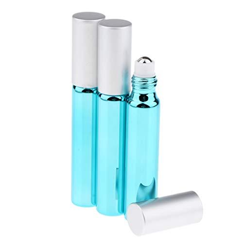 SDENSHI 3pcs Flacon Vide Verre D'huile Essentielle de Roll-on Liquid Container Bouteille de Parfum - Bleu ciel
