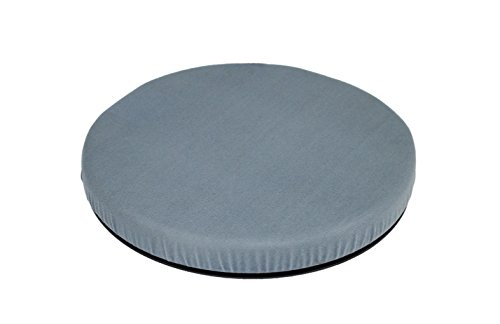 "ObboMed SS-2750G 360°Rotation Compact Portable Swivel Padded Seat Cushion with Non-Skid Plastic ABS Base, Washable Velour Cover, Easy Movement for Back Hip Tailbone Pain Size 15"" x 2"", (Grey)"