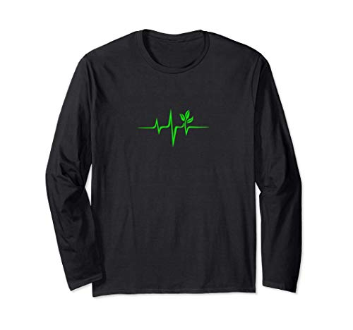 Pulse, green, heartbeat, vegan, plant, nature, environment Long Sleeve T-Shirt
