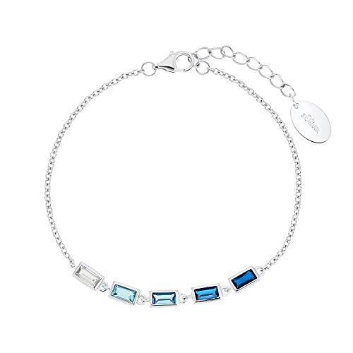 s.Oliver Armband für Damen, 925 Sterling Silber | Rainbow blau