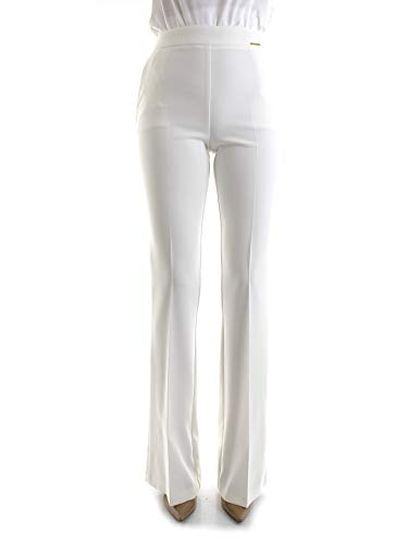 Elisabetta Franchi PA07201E2 Pantaloni Eleganti Donna Bianco 44