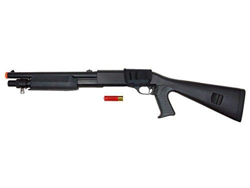Double Eagle DE M56A CQB Tri-Burst Airsoft Spring Powered Shot Gun w/Full Stock & Pistol Grip Airsoft Toy