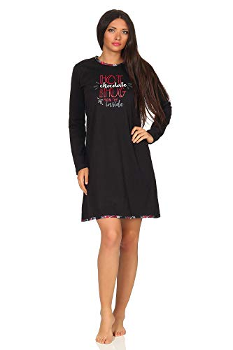 Damen Nachthemd Bigshirt von Normann - auch in Übergrössen bis Gr. 60/62-291 213 90 820, Farbe:schwarz, Größe2:56/58