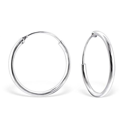 DTP Silver - Orecchini a Cerchio/Creola - Argento 925 - Media Dimensione - Spessore 3 mm - Diametro 30 mm