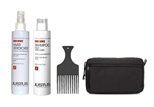 Justus Pimp Up the Volume Set: Haarverdicker 200ml + Volumen Shampoo 200ml + Afro Kamm + Kosmetiktasche schwarz