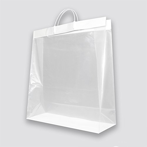 Best Bargain Large Glossy Plastic Merchandise Bags with Clip Loop Handle and Reinforced Cardboard Bo...
