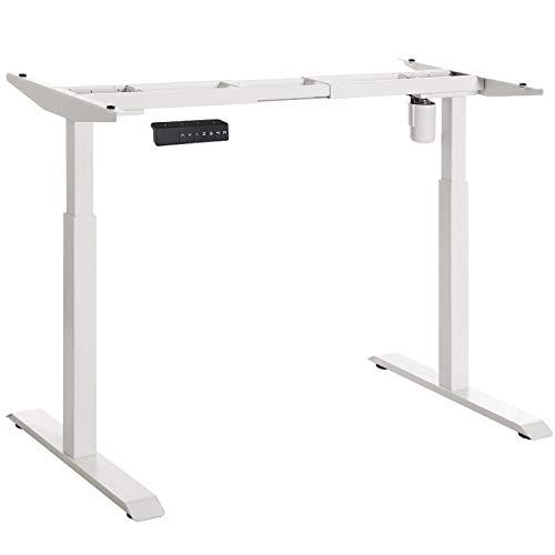 SONGMICS Tischgestell, Schreibtischgestell, elektrischer Schreibtisch, Tischständer mit Motor, stufenlose Höhenverstellung, mit Speicherfunktion, Länge verstellbar, Stahl, weiß, LSD11WT