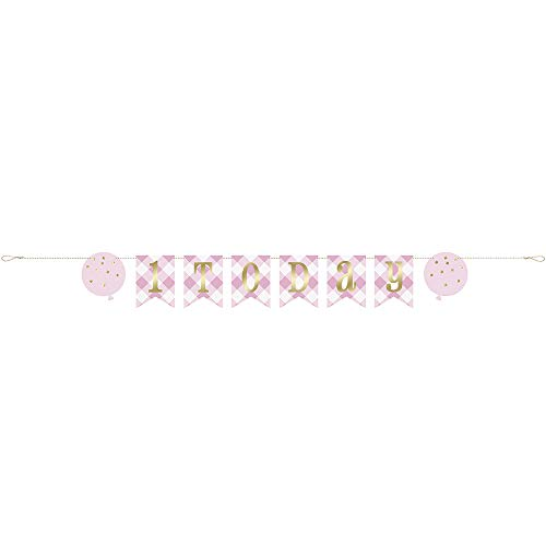 Unique Party- 1.8 m Pink Gingham 1st Birthday Banner, Color rosa (74908)